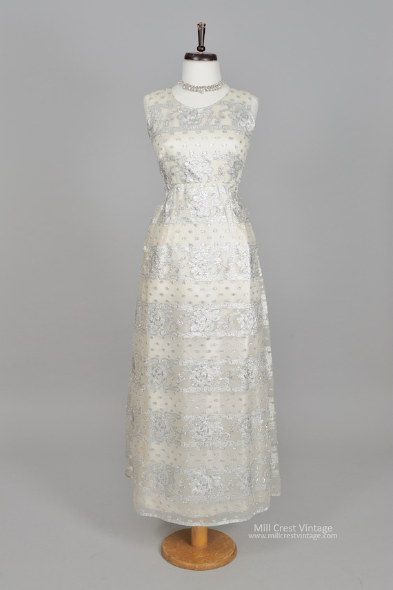 1960 Silver embroidered Vintage Wedding Gown