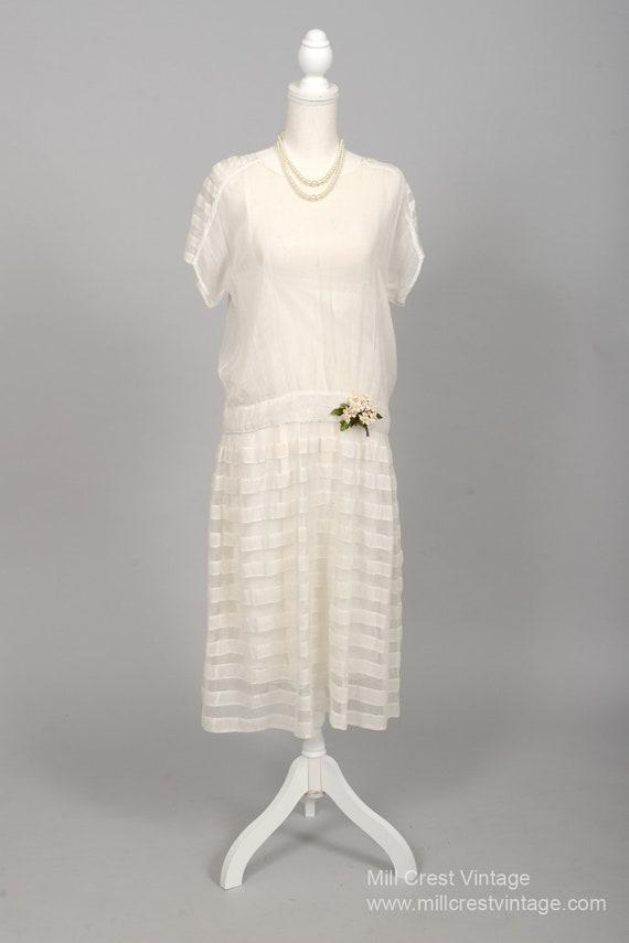1920 Gauzy White Vintage Wedding Dress
