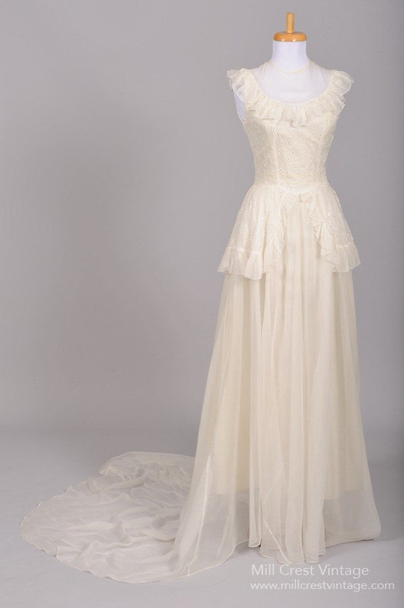1940 Eyelet Organdy Vintage Wedding Gown