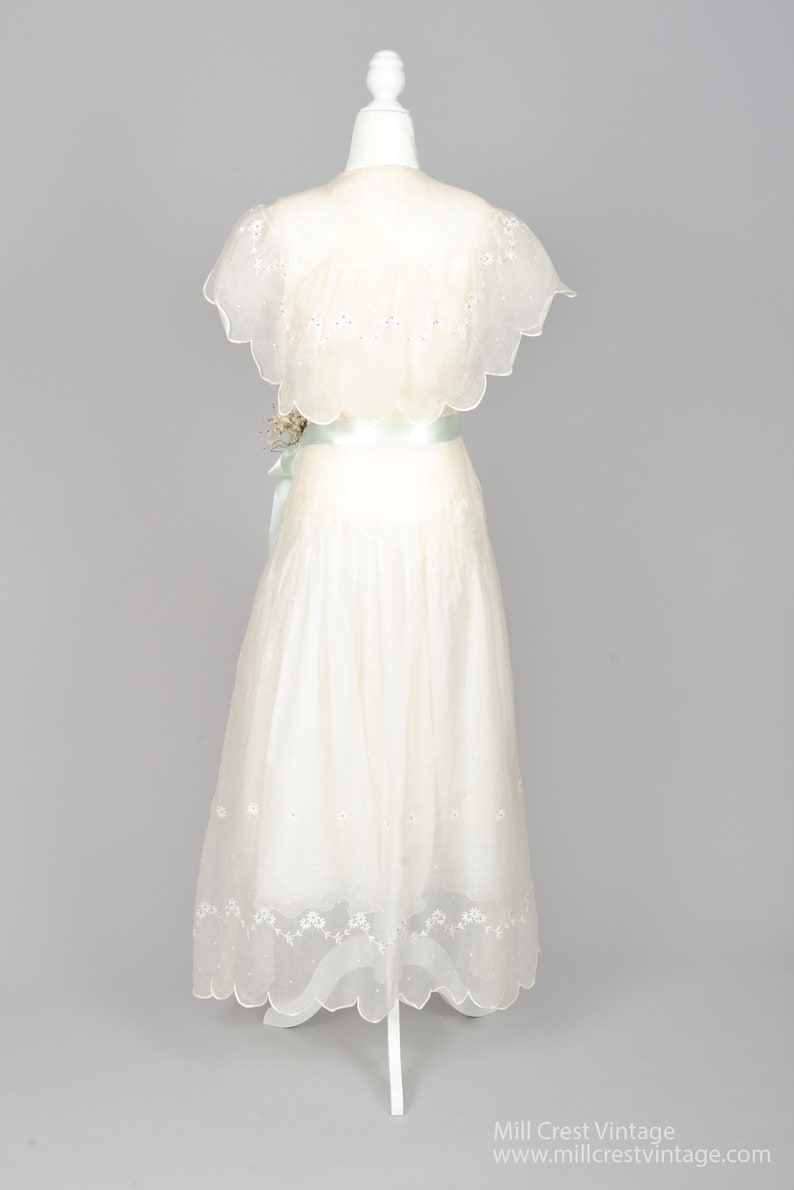 543a0b9cabd 1930 White And Blue Daisies Organza Vintage Wedding Dress
