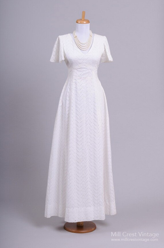 1970 Eyelet Cotton Vintage Wedding Gown