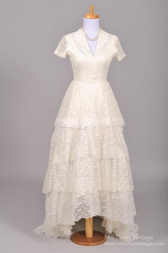 1950 Perles Dentelle Robe De Mariee Vintage