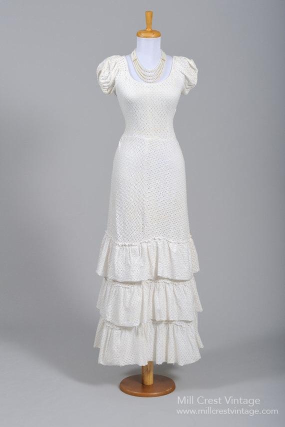 1940 Cotton Jersey Eyelet Vintage Wedding Gown