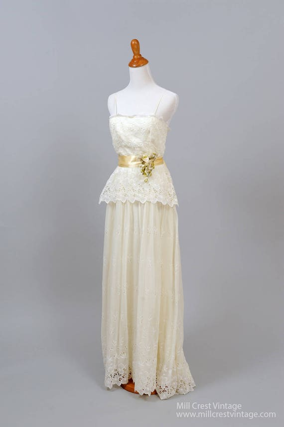 1960 Cotton Organdy Vintage Wedding Gown
