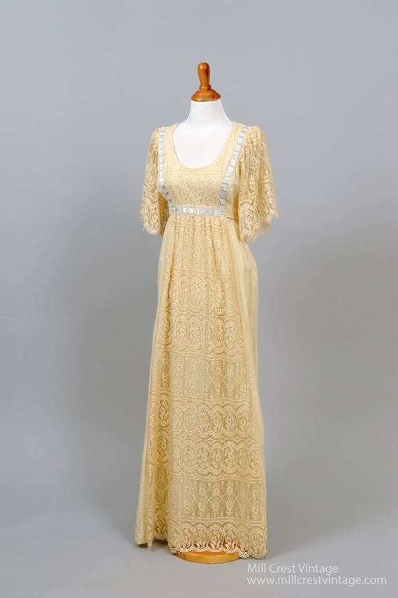 1970 Lace Flutter Vintage Wedding Dress