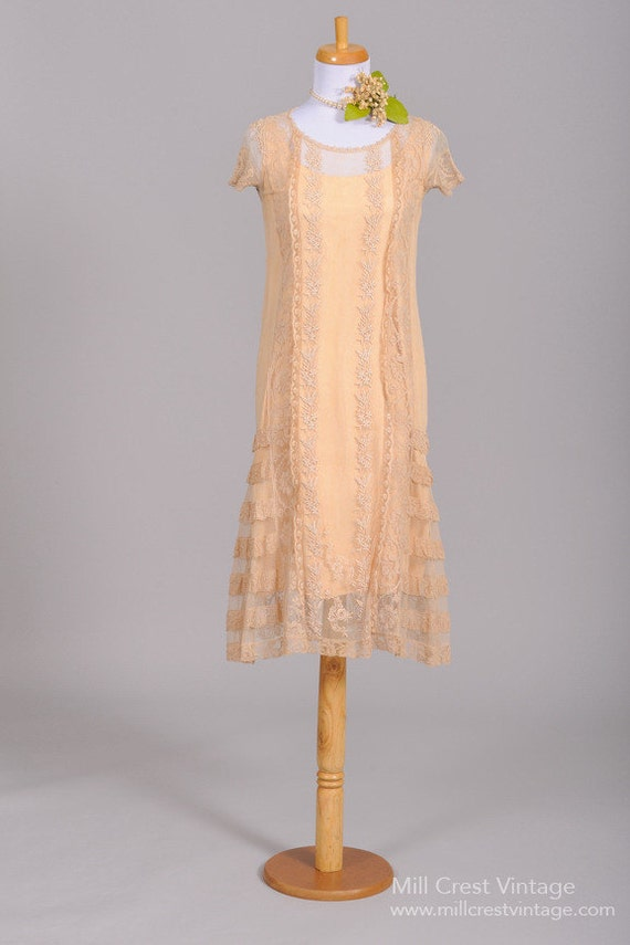1920 Tea Stained Lace Vintage Wedding Dress