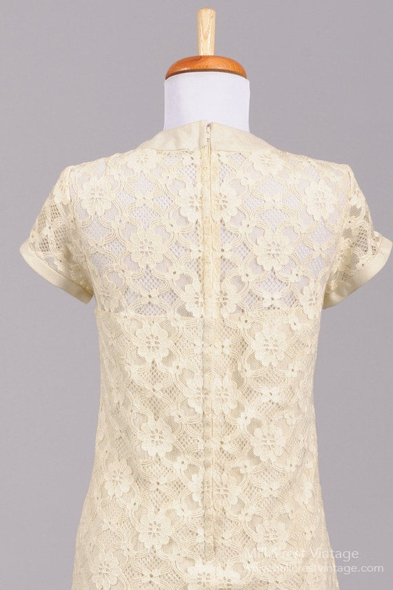 1960 Linen Lace Vintage Wedding Dress - image 4