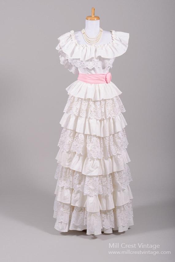 1970s Ruffled Peasant Vintage Wedding Dress
