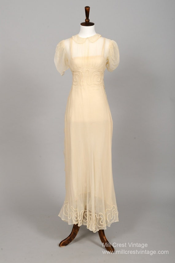 1930 Sheer Butter Embroidered Vintage Wedding Dres