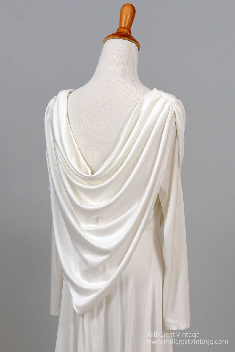 1970 White Scarf Vintage Wedding Gown