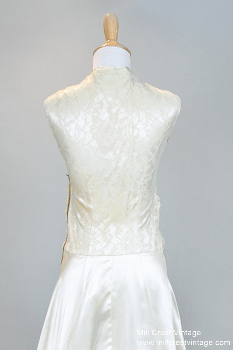 1940 Slipper Satin and Lace Vintage Wedding Gown