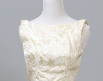 1960s Ivory Damask Vintage Wedding Gown