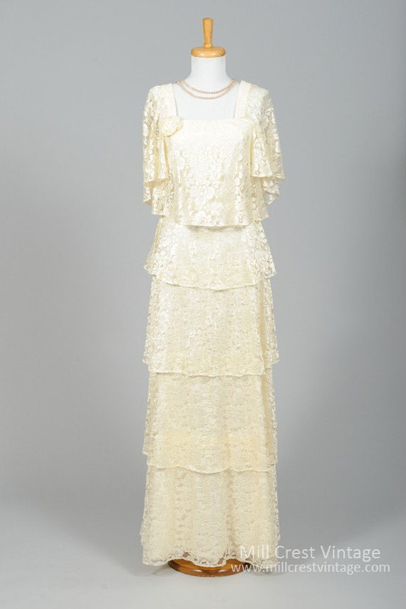 1970 Ivory Tiered Vintage Wedding Gown