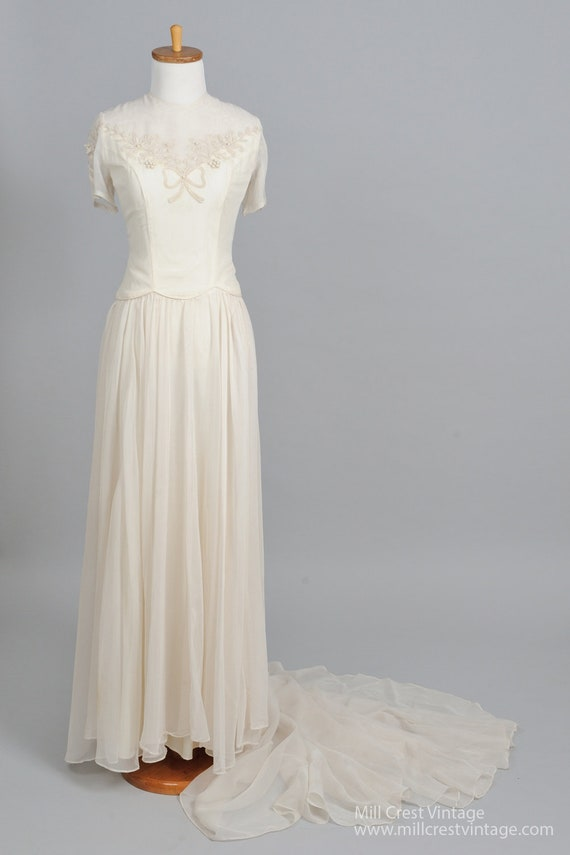 1950 Soutache Capped Sleeves Vintage Wedding Gown