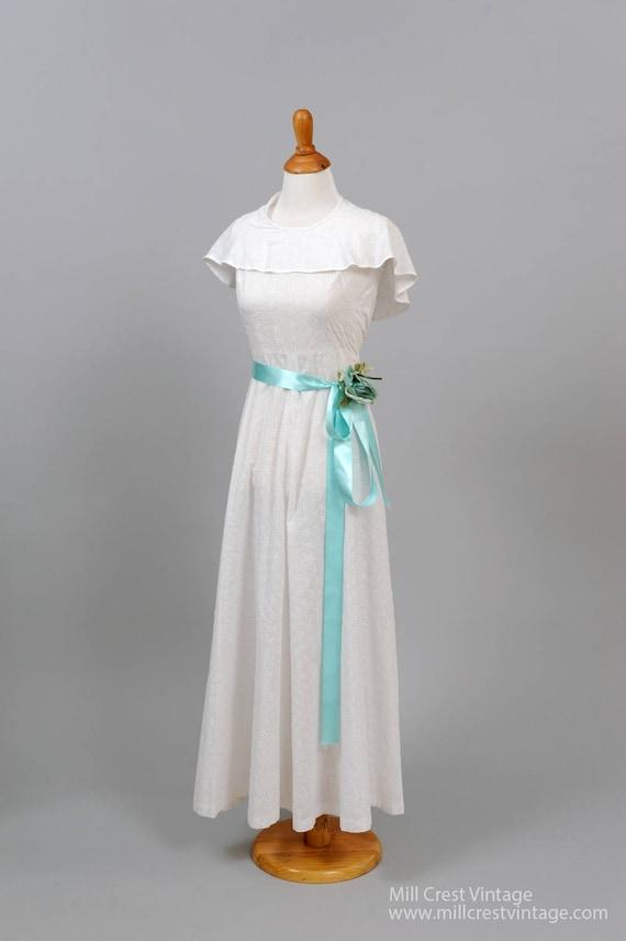 1970's Cotton Eyelet Vintage Wedding Gown