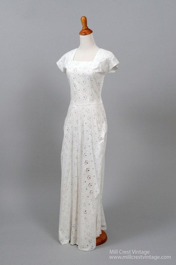 1950 White Cotton Eyelet Vintage Wedding Gown