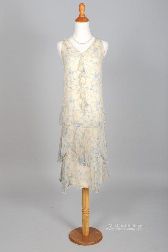 1920s  Blue White Chiffon Vintage Wedding Dress