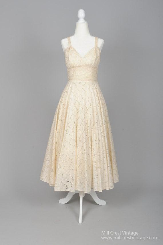 1950 Ecru Eyelet Vintage Wedding Dress