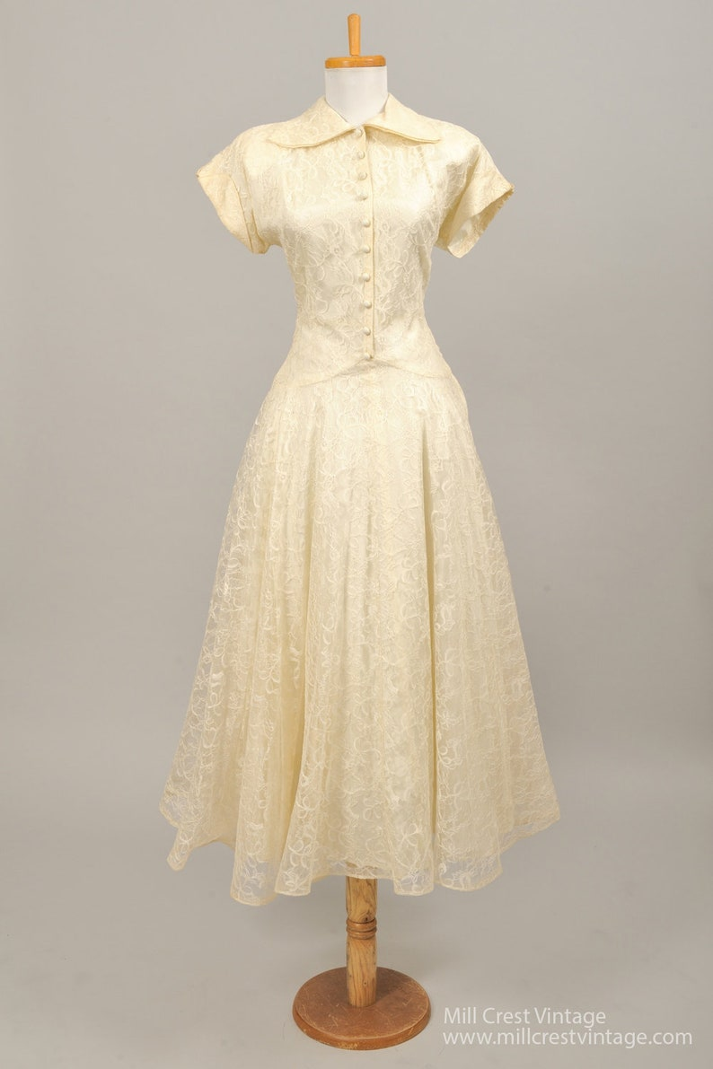 6b13c63608a 1950 Shirtmaker Lace Vintage Wedding Gown