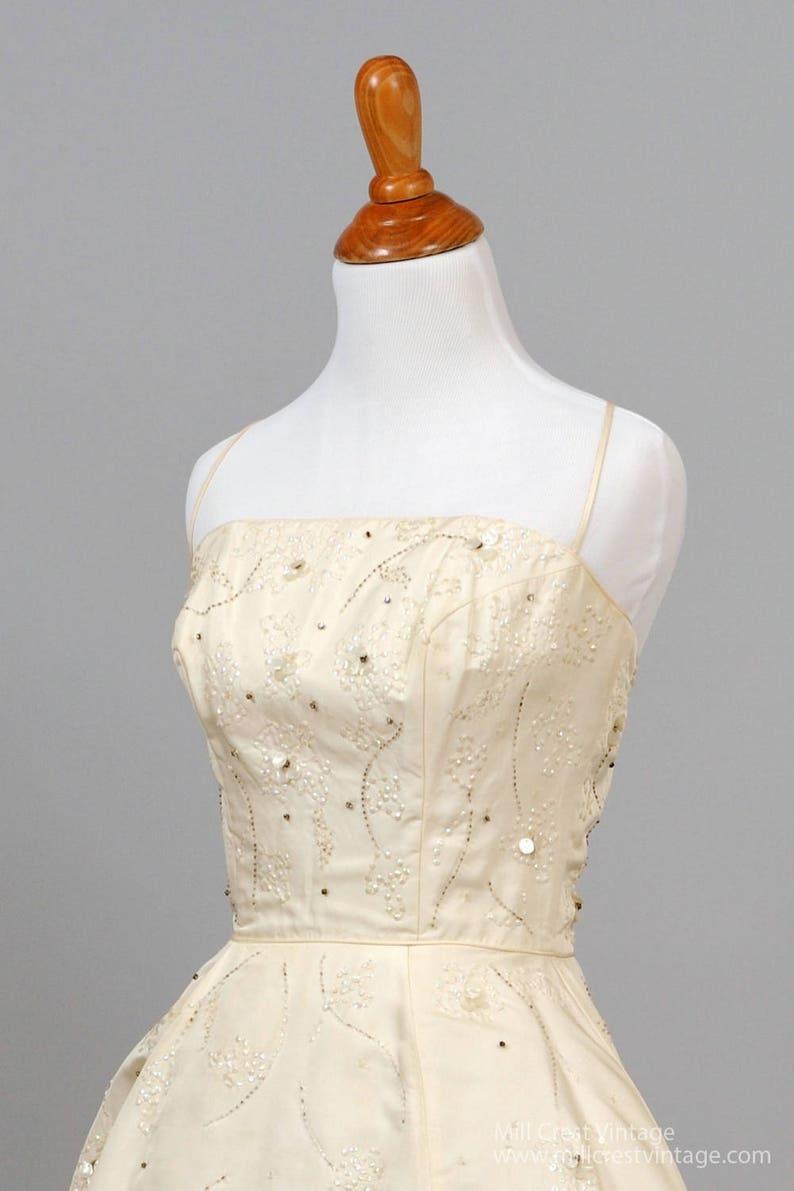 1950 Spaghetti Strap Beaded Vintage Wedding Dress