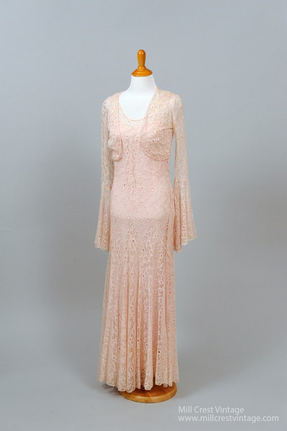 1940 Pink Lace Gown And Shrug Vintage Wedding Gown