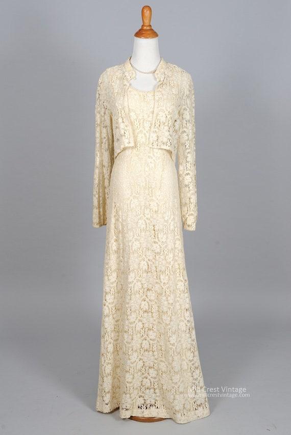 1970 Ivory Lace Vintage Wedding Ensemble