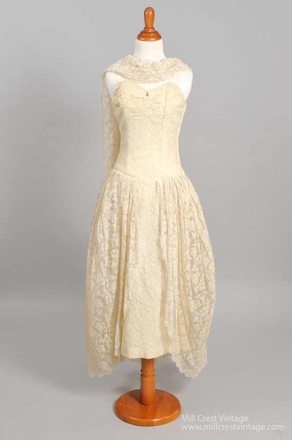 1950 Ruched Strapless Vintage Wedding Dress
