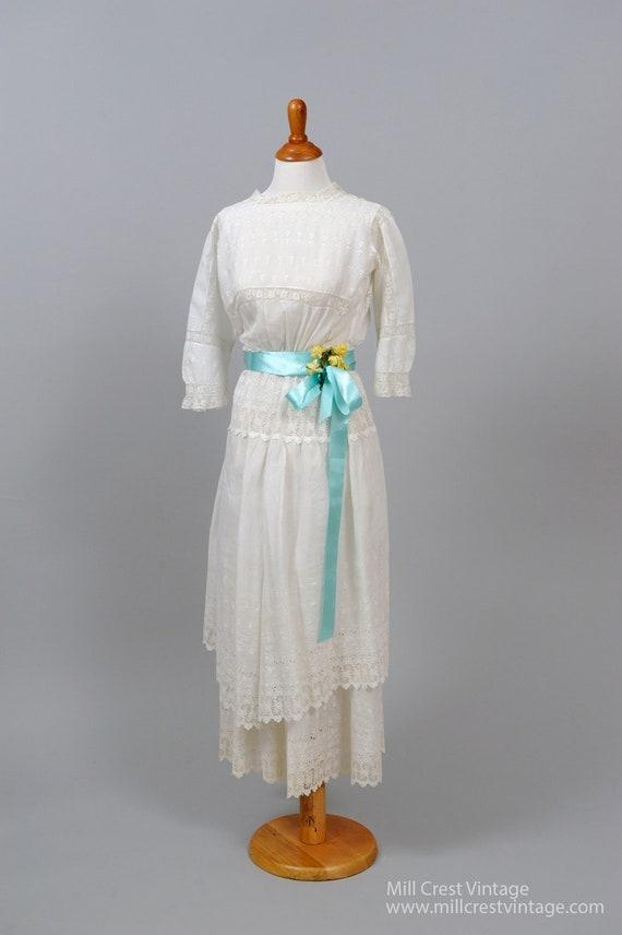 1930's White Eyelet Nautical Vintage Wedding Dress