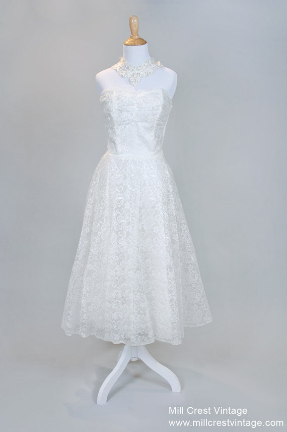 1950 Strapless Tea Length Vintage Wedding Dress