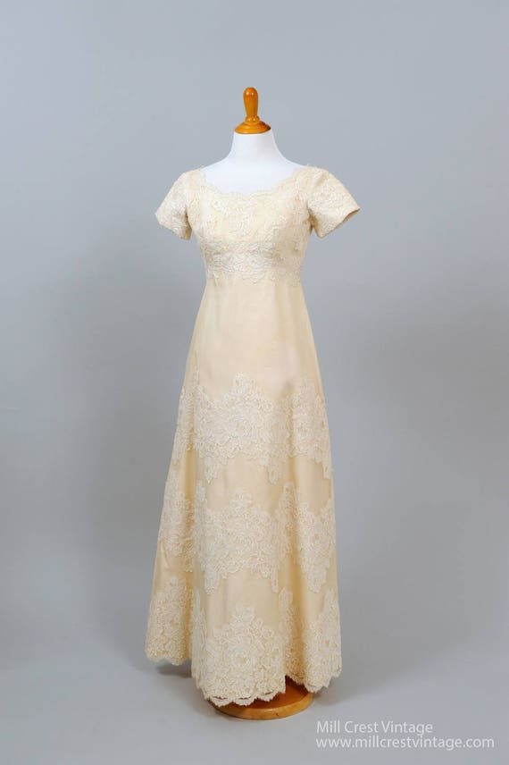 1960 Peach Net and Lace Vintage Wedding Gown