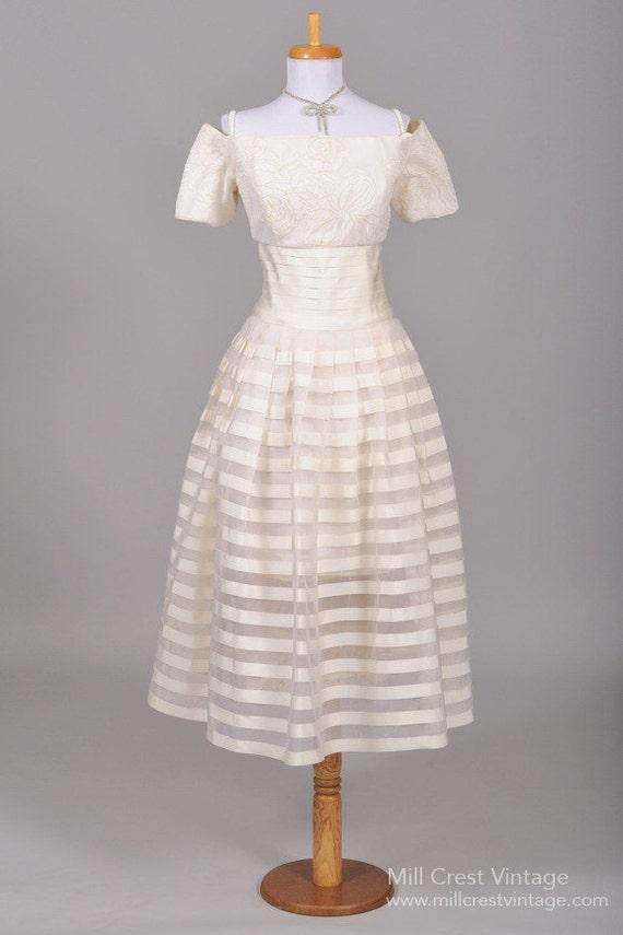 1980 Organza Ribbon Vintage Wedding Dress