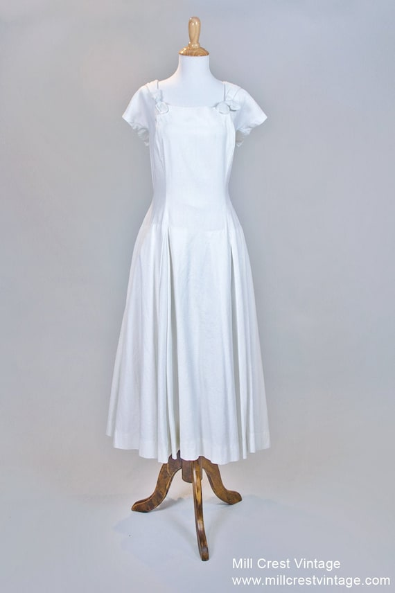 1960 Tea Length Pique Vintage Wedding Dress