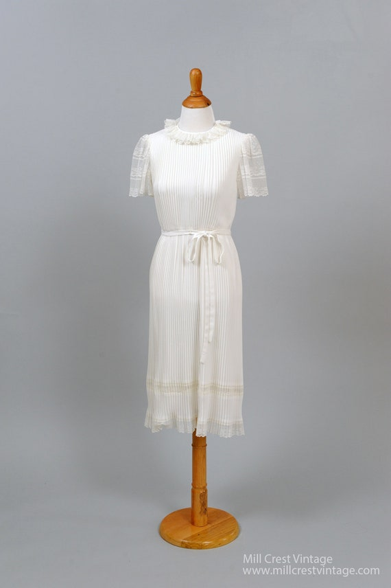 1970's White Pleated Chiffon Vintage Wedding Dress