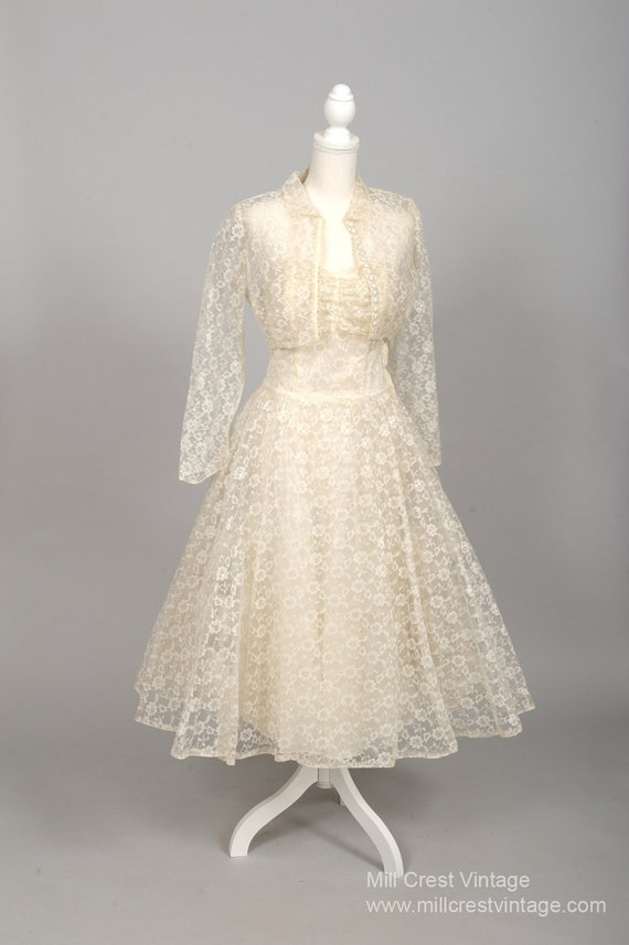 1950 Tea Length Vintage Wedding Ensemble
