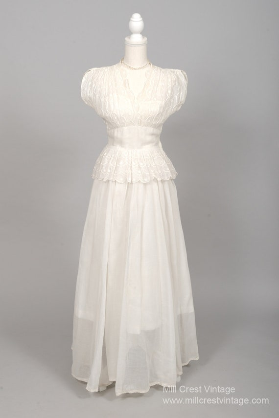 1940 White Embroidered Organdy Vintage Wedding Gow