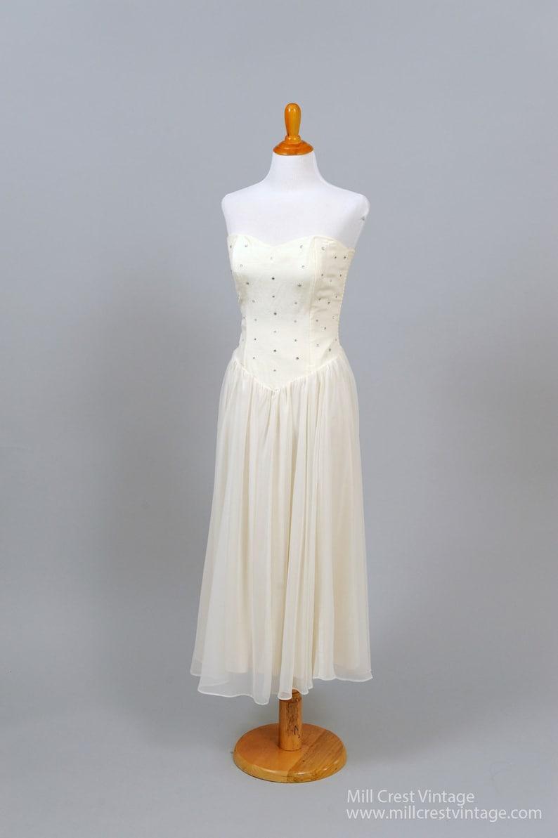 1970 Cream Chiffon Rhinestone Vintage Wedding Dress