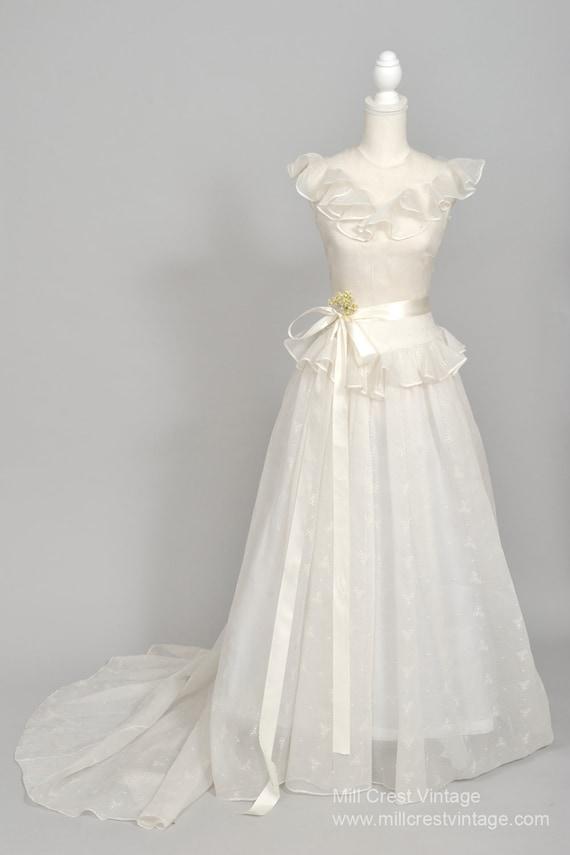 1940 Ruffled Organdy Vintage Wedding Gown