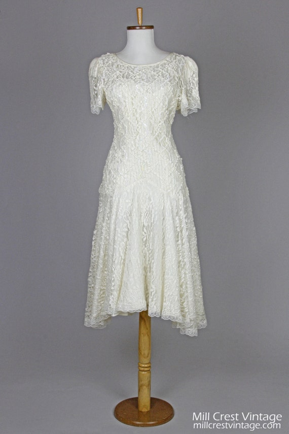 1970 Soutache And Lace Vintage Wedding Dress