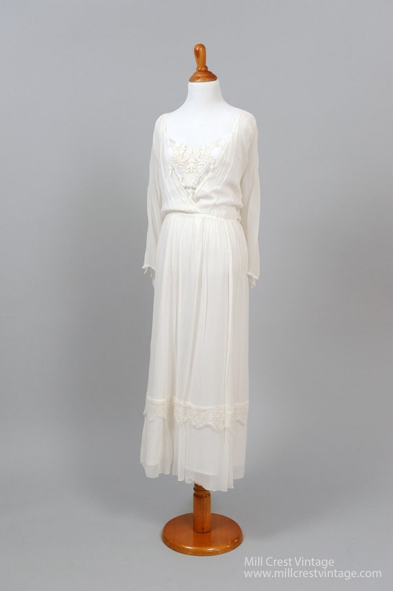 1970 Long Cut-Out Sleeves  Vintage Wedding Gown