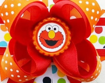 """Elmo Sesame Street Handmade Boutique Layered Hair Bow 5"""" Girls Hair Bow NEW Birthday Bow Party Bow Gift Bow"""
