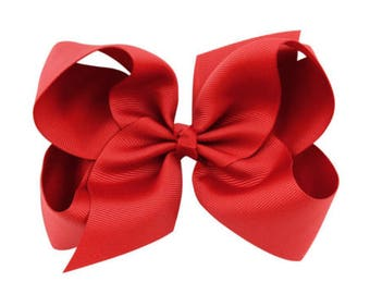 "Red 5.5"" Girl's Large Hair Bow New"
