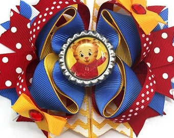 """5/"""" Daniel Tiger Stacked Boutique Hair Bow Handmade"""