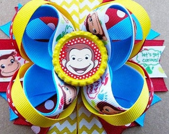 """Curious George Handmade Boutique Layered Girls Hair Bow 5"""" New"""