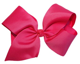"""Hot Pink 5.5"""" - 6"""" Girl's Large Hair Bow New"""