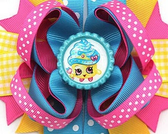 """Shopkins Cupcake Queen Handmade Boutique Layered Hair Bow 5"""" Girls Hair Bow NEW Birthday Bow Party Bow Gift Bow"""