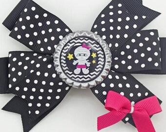 "Halloween Cute Mummy 4.5"" Hair Bow New Black Pink White"
