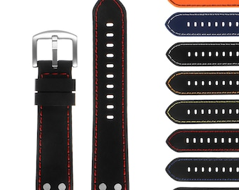 Silicone Rubber Aviator Watch Band with Rivets - Quick Release Strap - 18mm 20mm 22mm 24mm