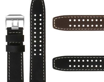 23mm Genuine Leather Replacement Watch Band Strap for Luminox Evo