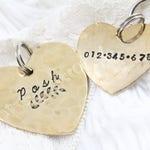 Heart Dog Tag, Gold Heart Dog Id Tag, Aluminum Id Tag, Dog Tag, Handstamped Tag, Customized ID Tag, Heart Stamp, Custom Id Tag, Heart Shape