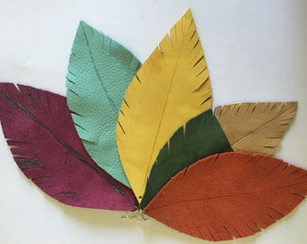 Fall colored Leather Feather Earrings